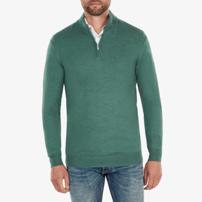 Aspen Half Zip, Green Melange