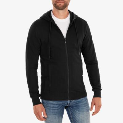 Denver hoodie met rits, Zwart