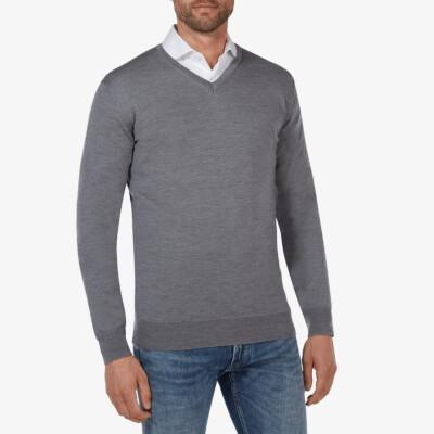 Kingston v-neck pullover, Mid grey