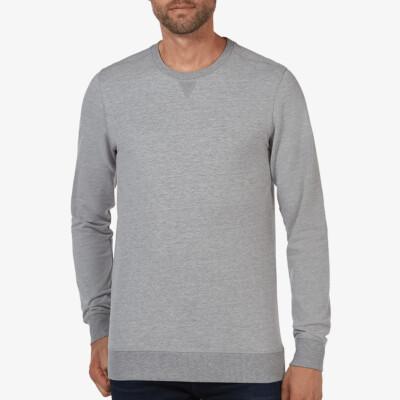 Lange grijs gemêleerde ronde hals regular fit Girav Princeton Light sweater voor mannen