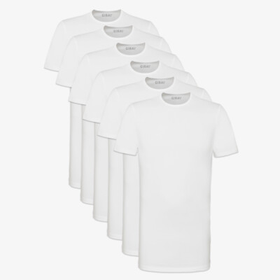 Lang wit stretch slim fit heren T-shirt Sixpack Bangkok, ronde hals van Girav