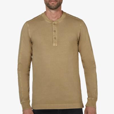 Blackpool Henley Sweater - Garment Dye, Olive Green
