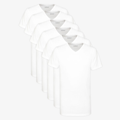 Lang Heren T-shirt Wit V-Hals Regular Fit 100% Katoen Melbourne 6-pack van Girav