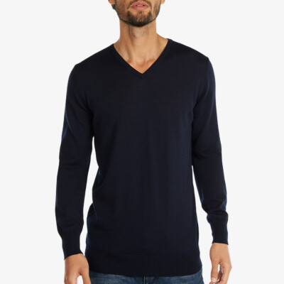 Lange navy V-hals regular fit Girav Montreal merino pullover voor mannen