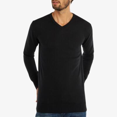 Lange zwarte V-hals regular fit Girav Montreal merino pullover voor mannen