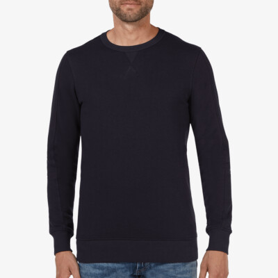 Lange navy ronde hals regular fit Girav Cambridge sweater voor mannen