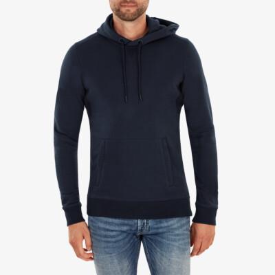 Girav Harvard lange navy regular fit hoodie voor heren. Heeft een buikzak met twee roestvrijstalen YKK-ritsen aan de zijkanten.