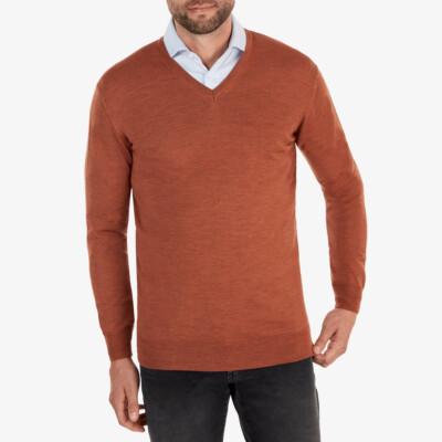 Kingston v-neck Pullover, Copper melange